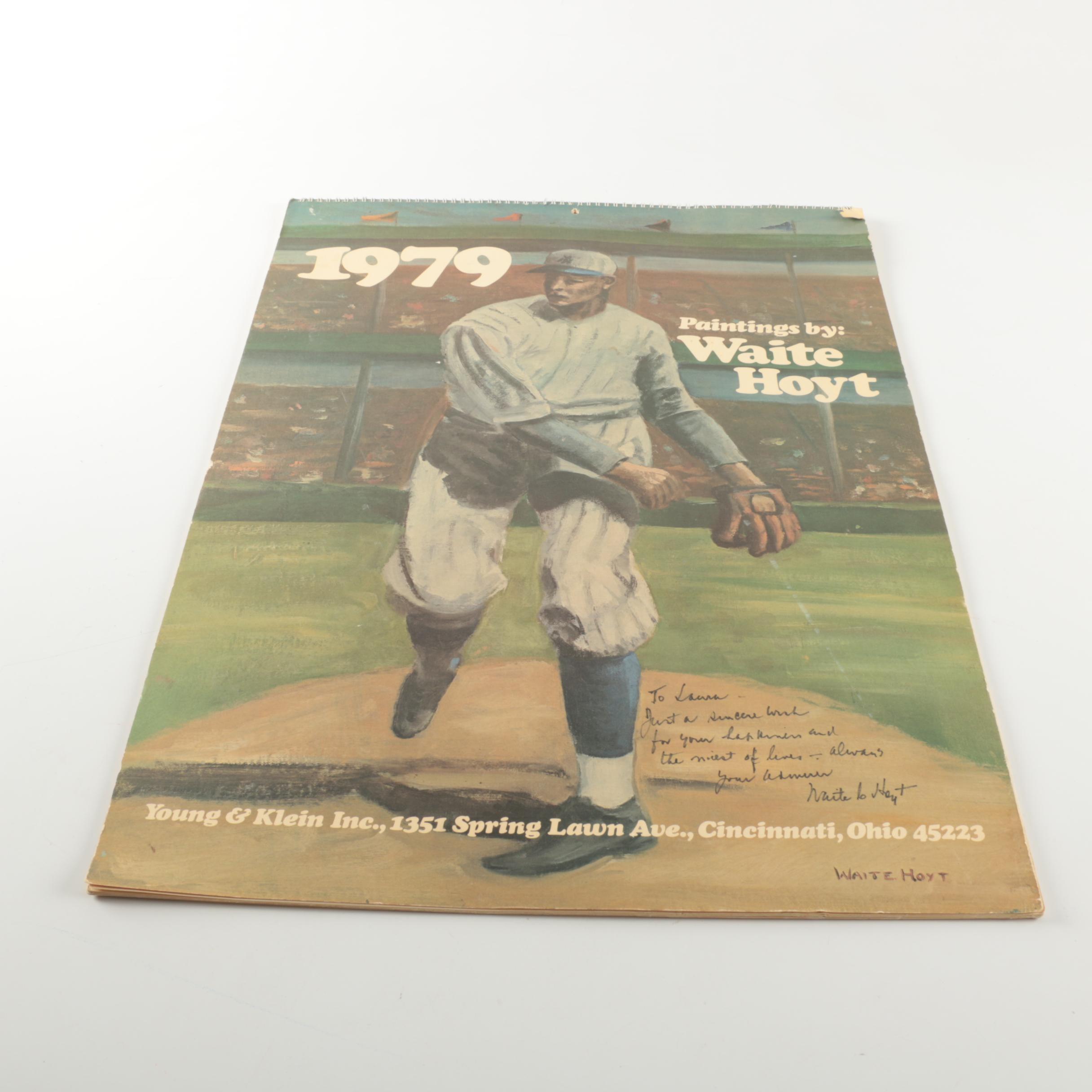 1979 Vintage Calendar Signed by Waite Hoyt