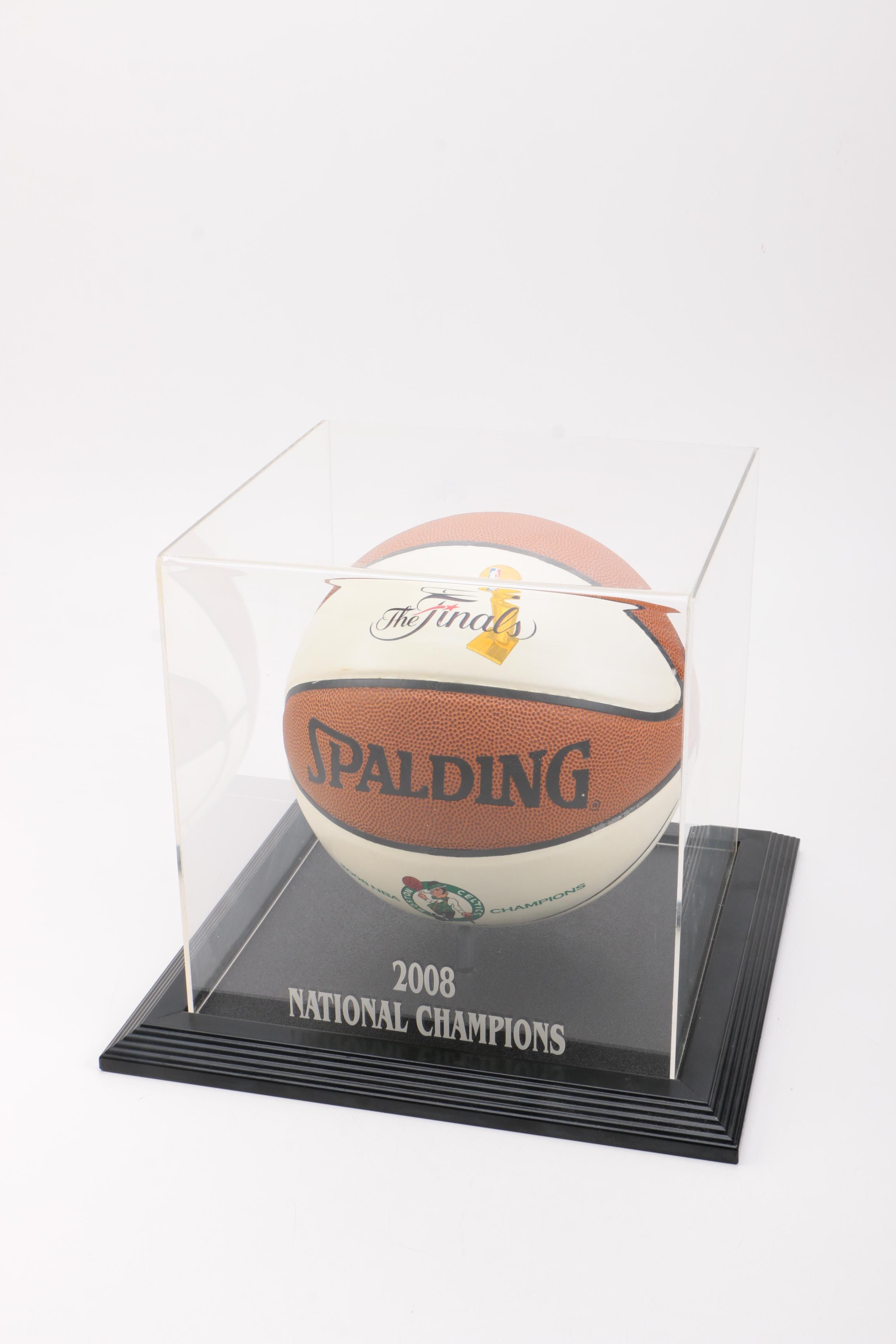 2008 NBA Finals Basketball With Display Case
