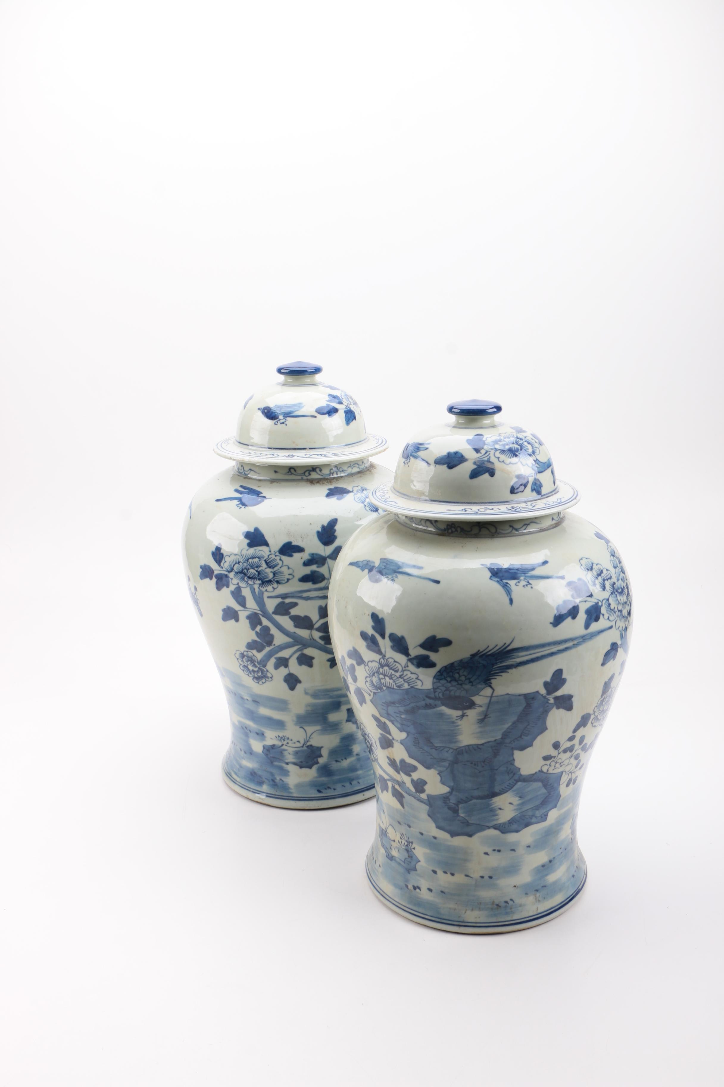 Pair of Chinese Blue and White Porcelain Temple Jars
