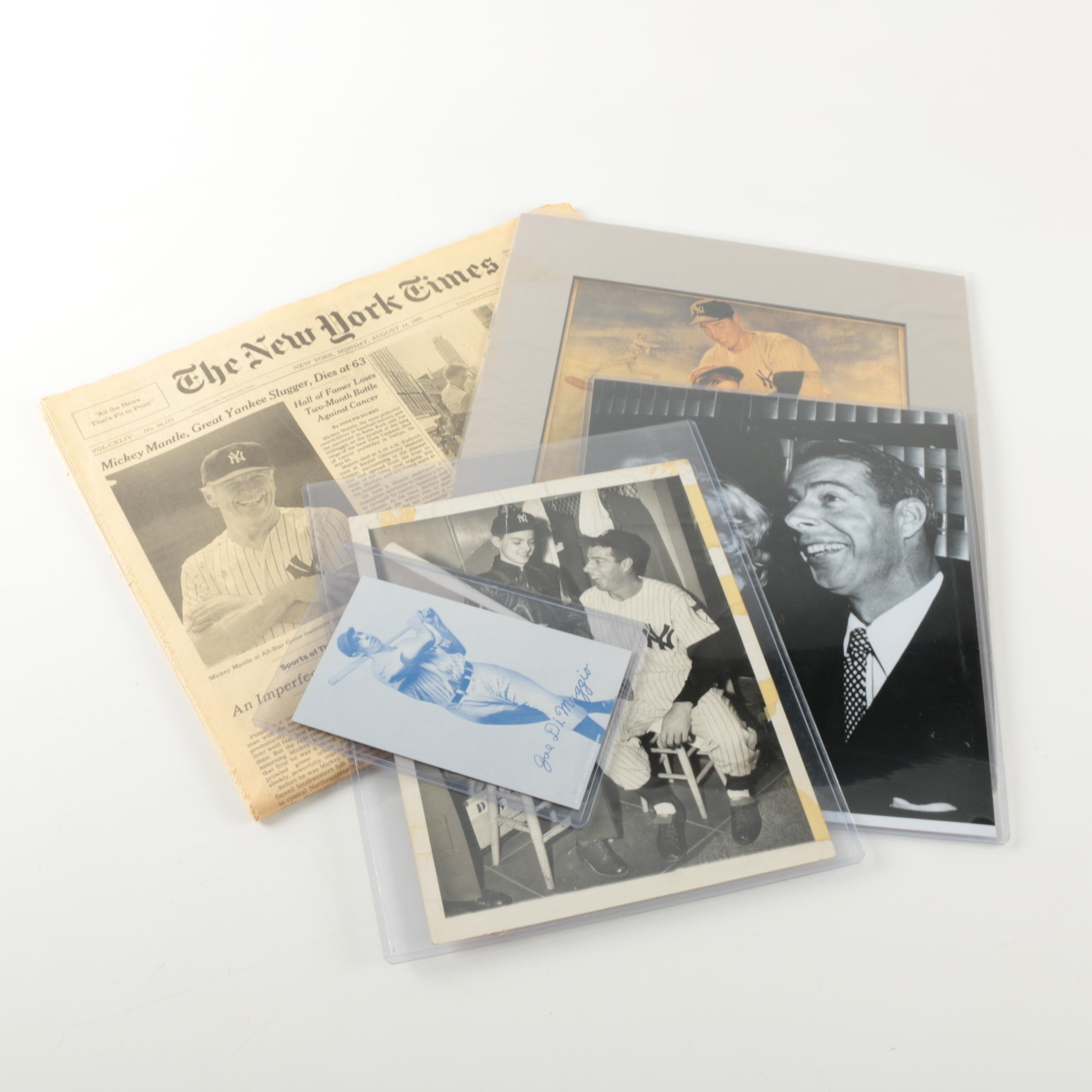 """1995 Mantle """"New York Times"""" with Four DiMaggio Photos"""