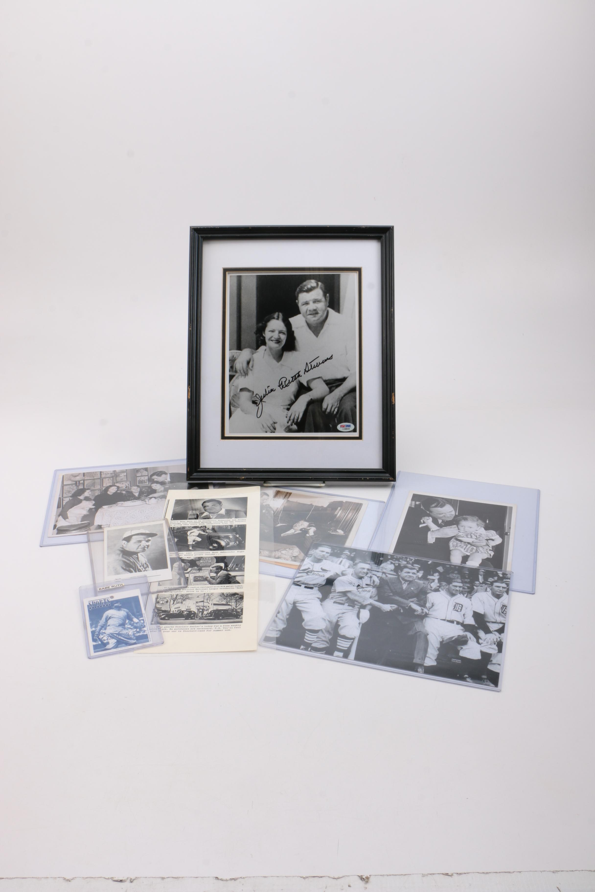 Babe Ruth and Signed Julie Ruth Stevens Photographs
