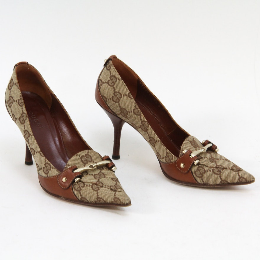 257651df179 Gucci Monogram Canvas and Leather Heels   EBTH