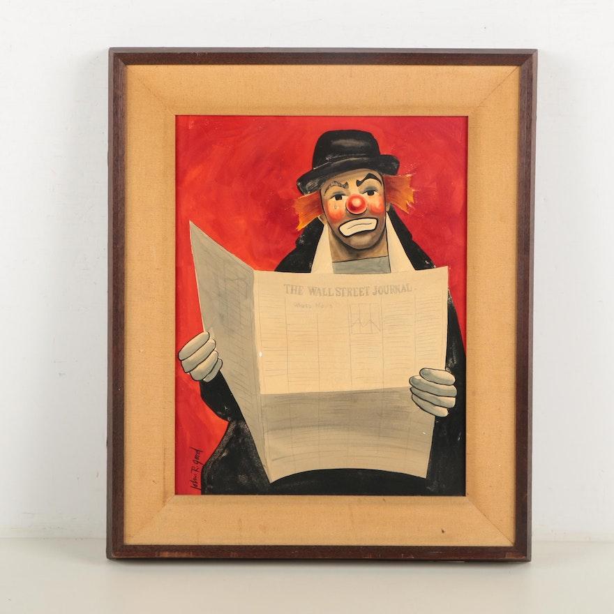 John R. Good Mixed Media Painting of Clown Reading Wall Street ...