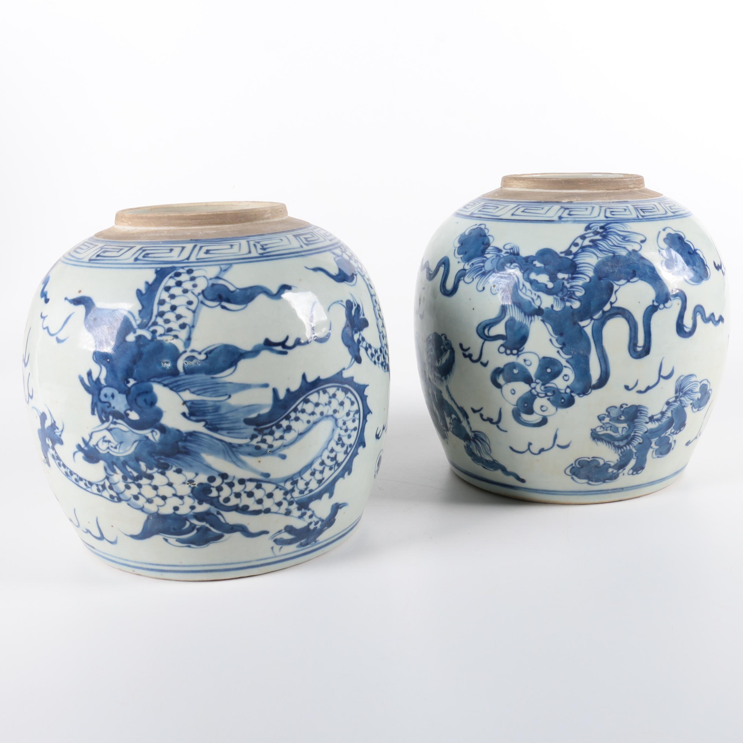 Chinese Blue and White Ceramic Ginger Jars