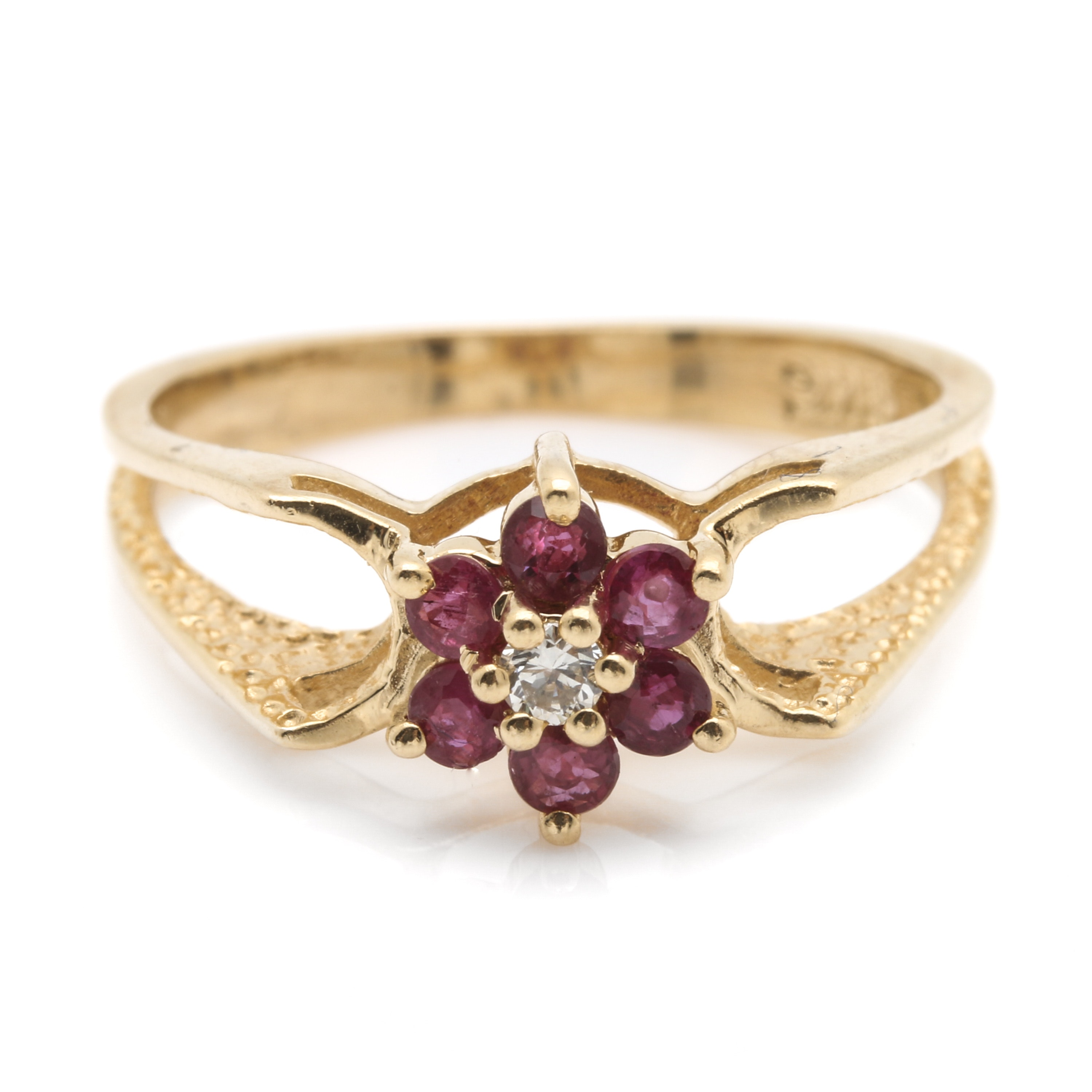 14K Yellow Gold Diamond and Ruby Flower Ring
