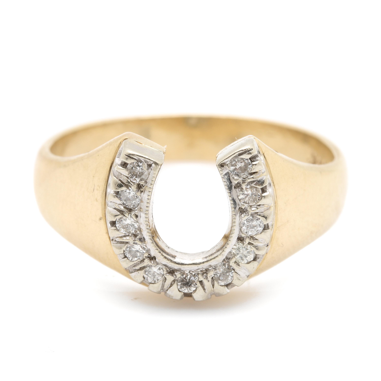 14K Yellow Gold Diamond Horse Shoe Ring