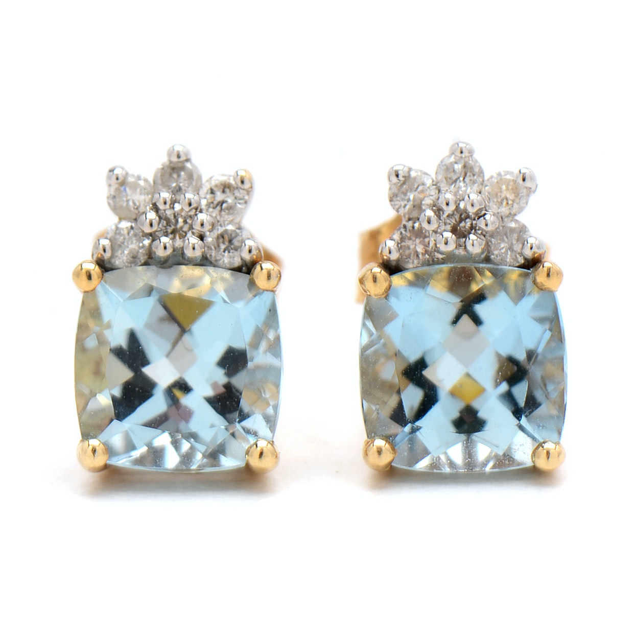 Pair of 14K Yellow Gold Aquamarine and Diamond Stud Earrings