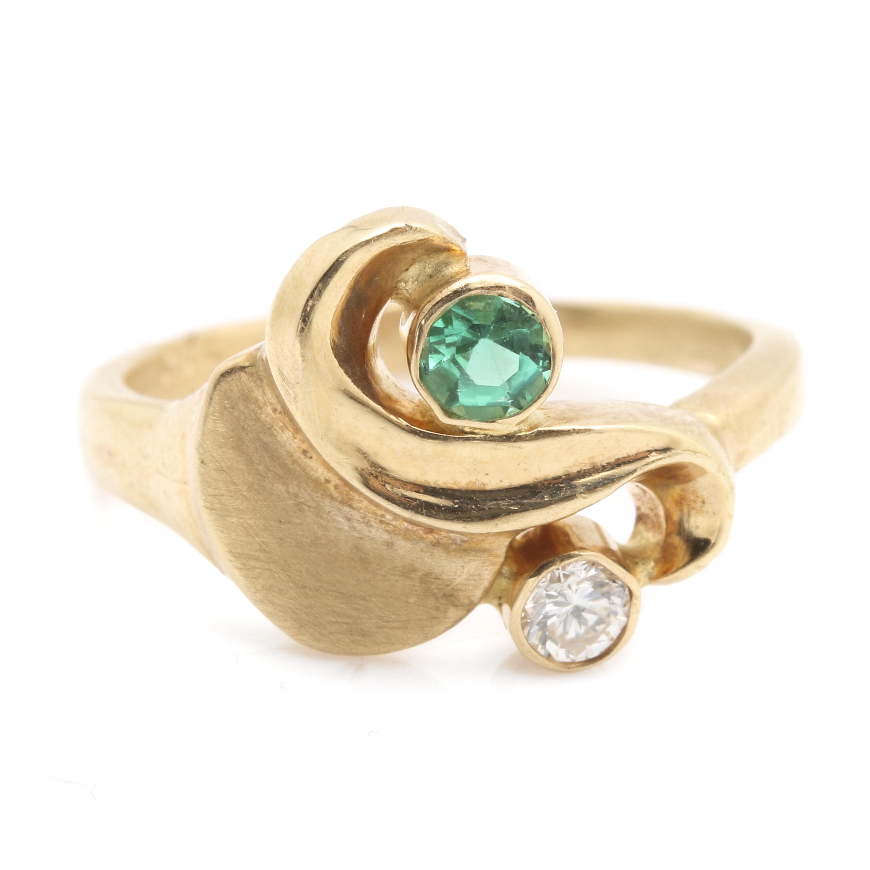 14K Yellow Gold Diamond and Green Tourmaline Ring