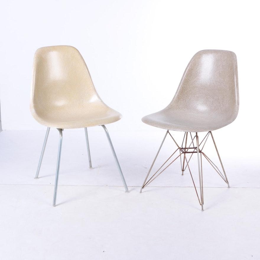 vintage eames fiberglass side chairs by herman miller ebth