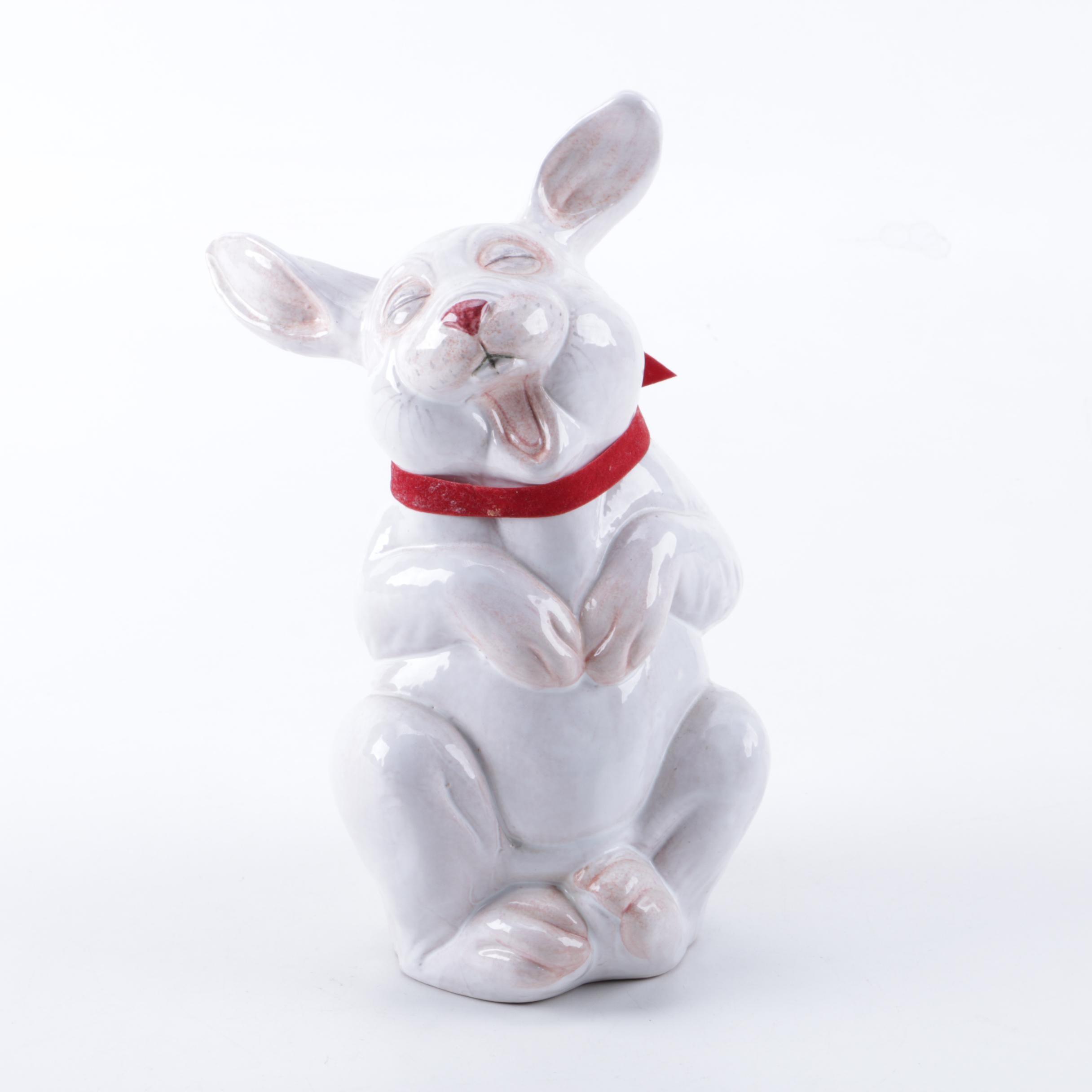 Terracotta Laughing Rabbit Figurine