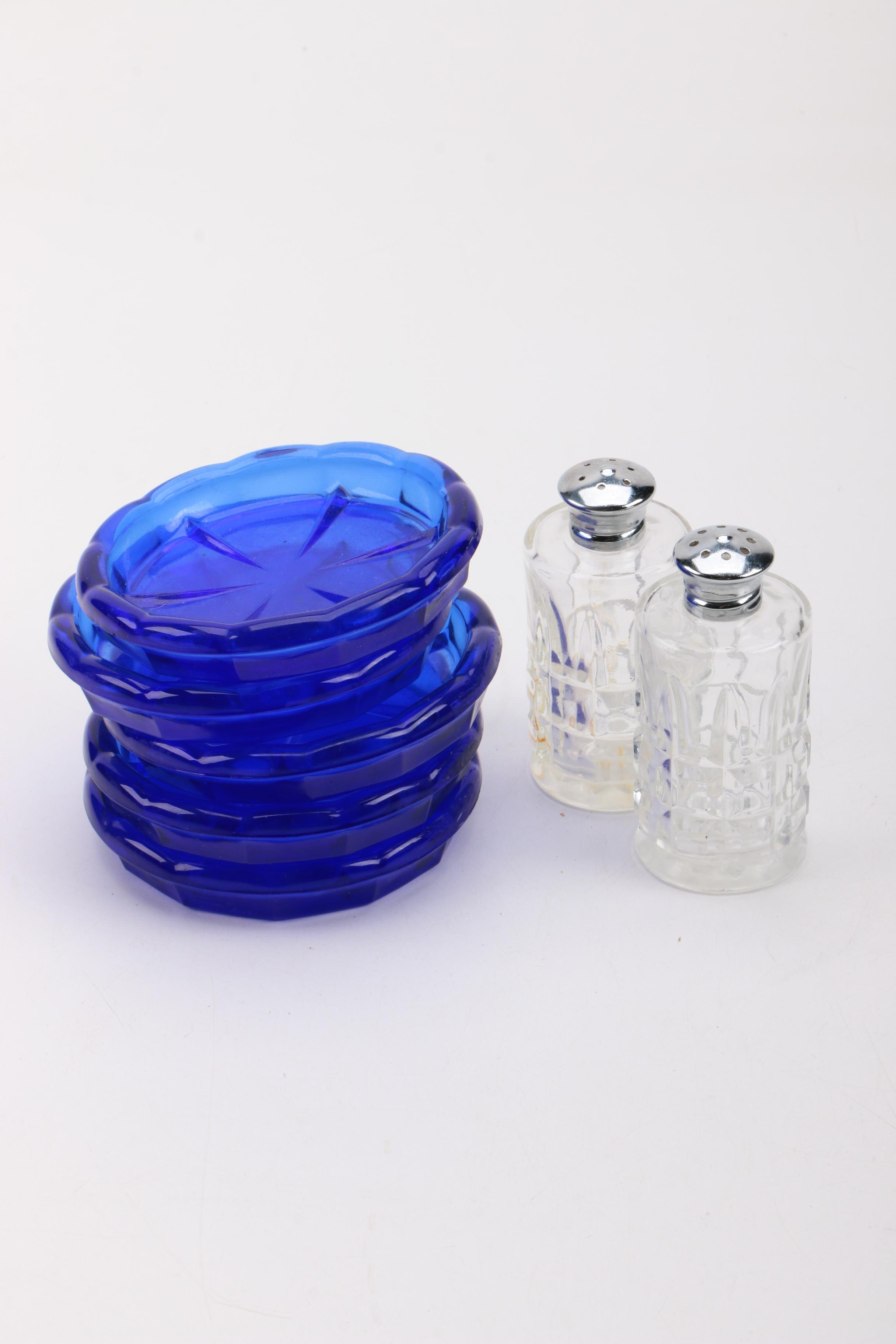 Salt and Pepper Shakers with Cobalt Blue Coasters