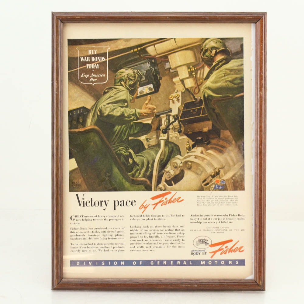 1944 Original Framed WWII Fisher Body Advertisement
