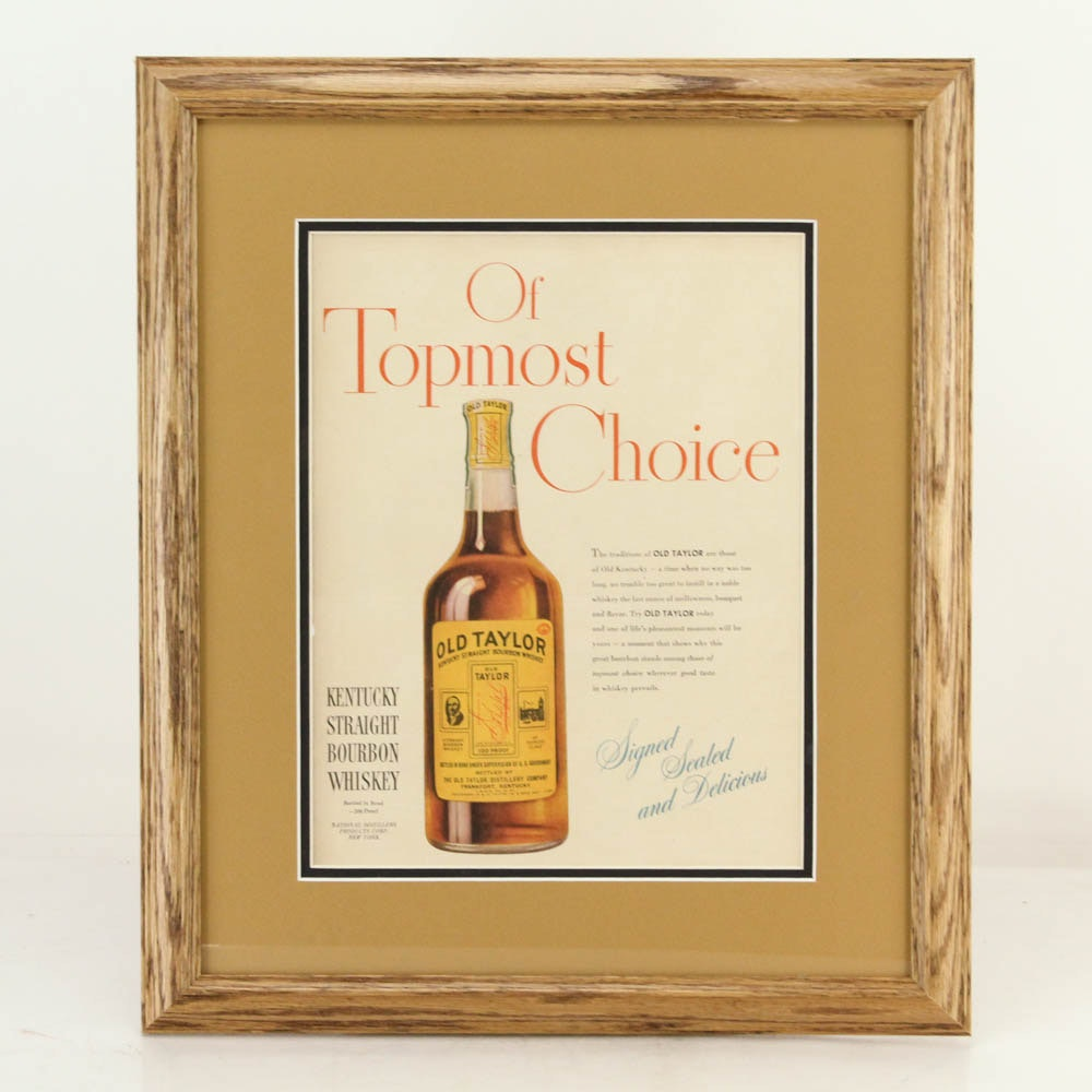 "1936 Original Framed ""Old Taylor"" Advertisement"
