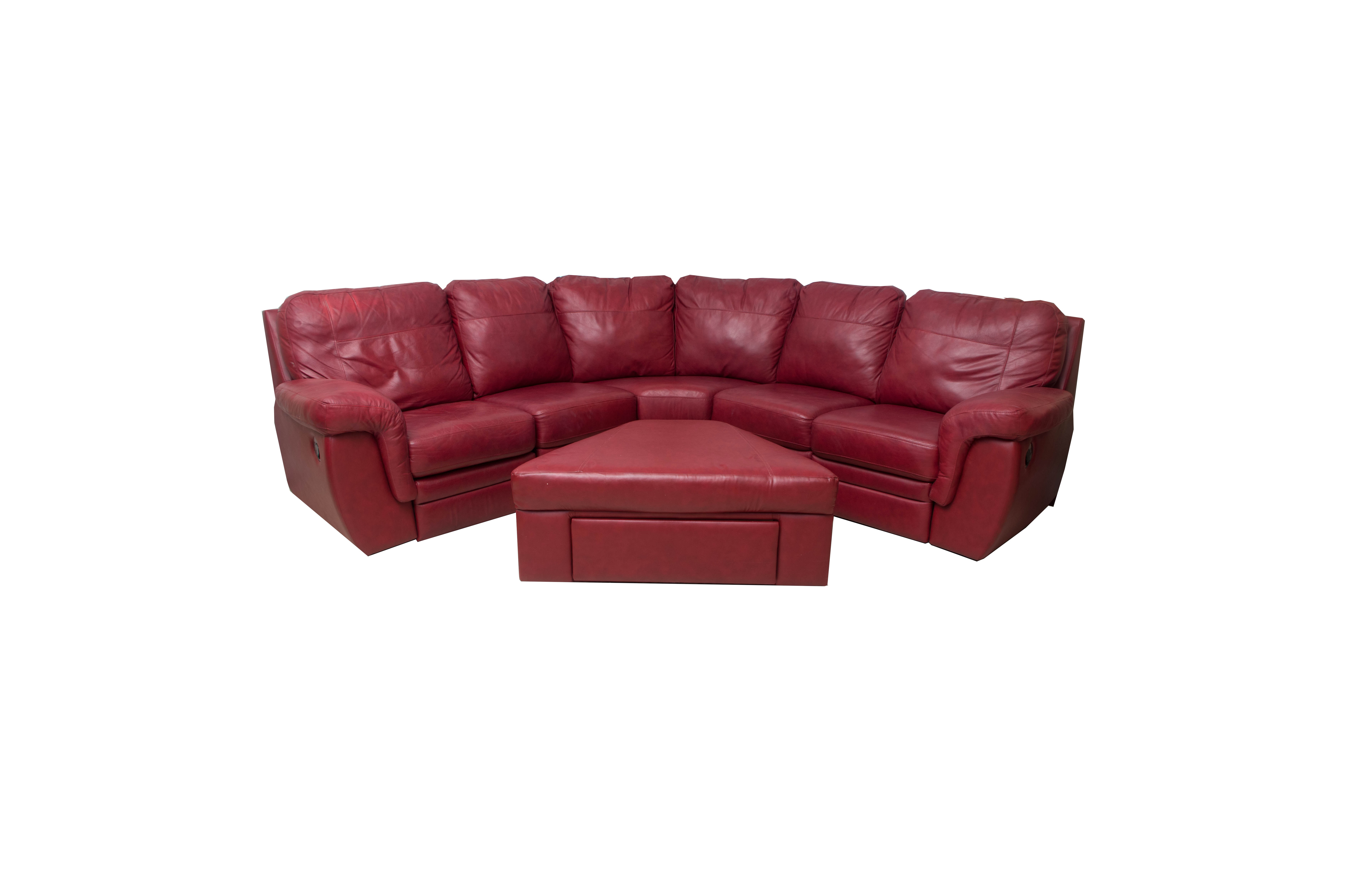 Red Bonded Leather Sectional Sofa With Ottoman