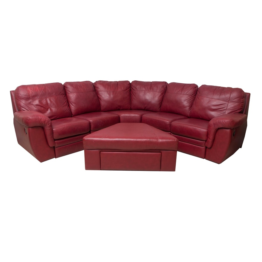 Red bonded leather sectional sofa with ottoman ebth for Red leather sectional sofa with ottoman