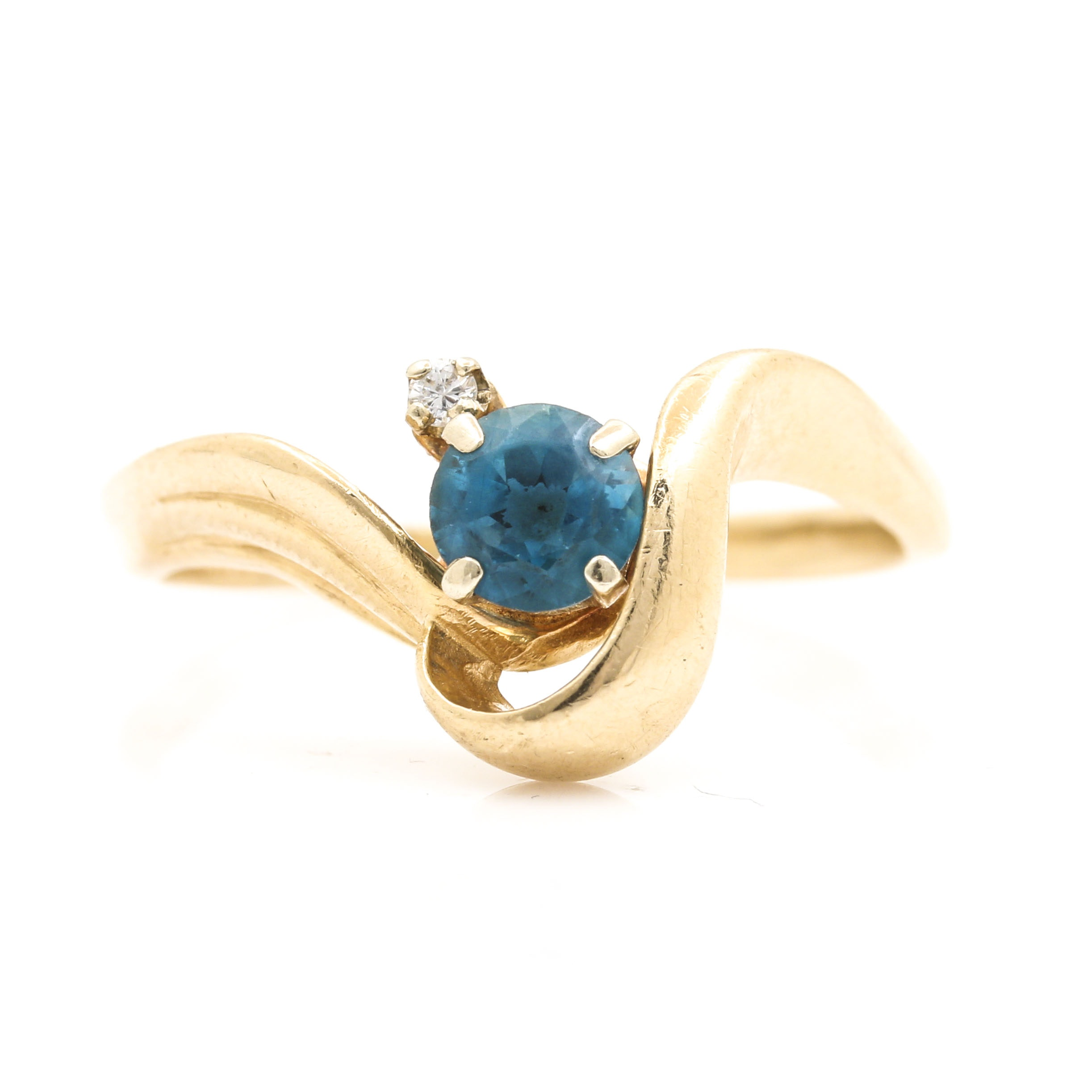 14K Yellow Gold Diamond and Blue Topaz Ring