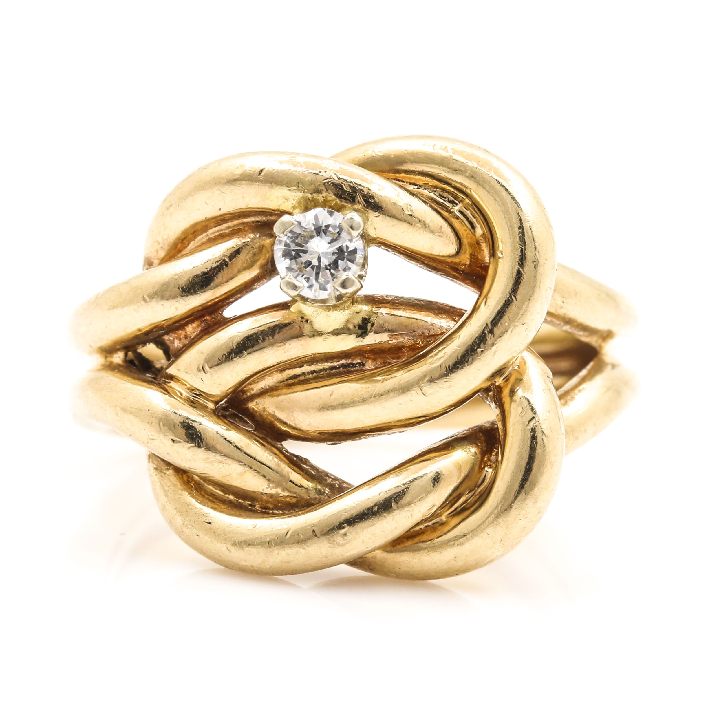 14K Yellow Gold Diamond Infinity Knot Ring