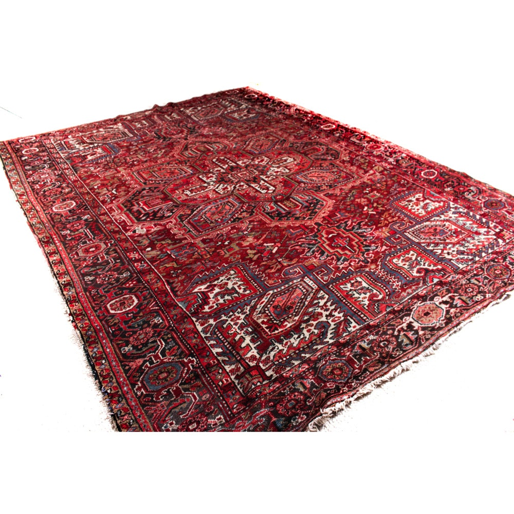 Semi-Antique Hand Knotted Heriz Area Rug