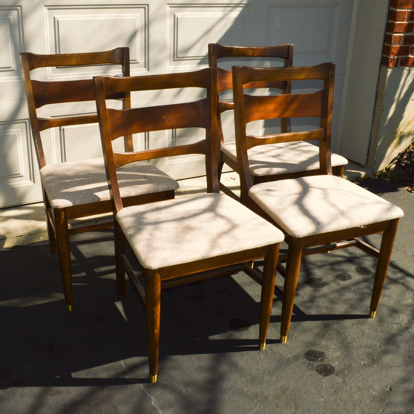 Set of Four Mid Century Modern Walnut Dining Chairs
