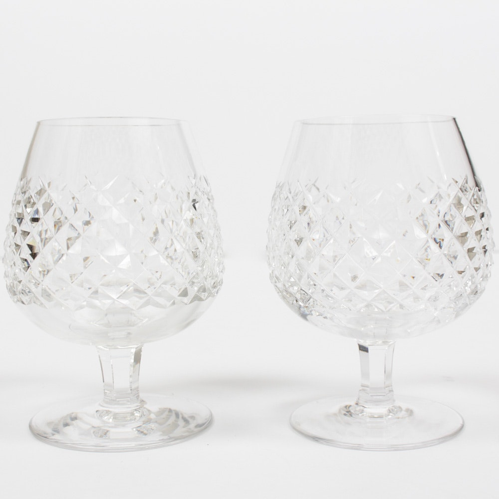"""Two Waterford Crystal """"Alana"""" Brandy Snifters"""