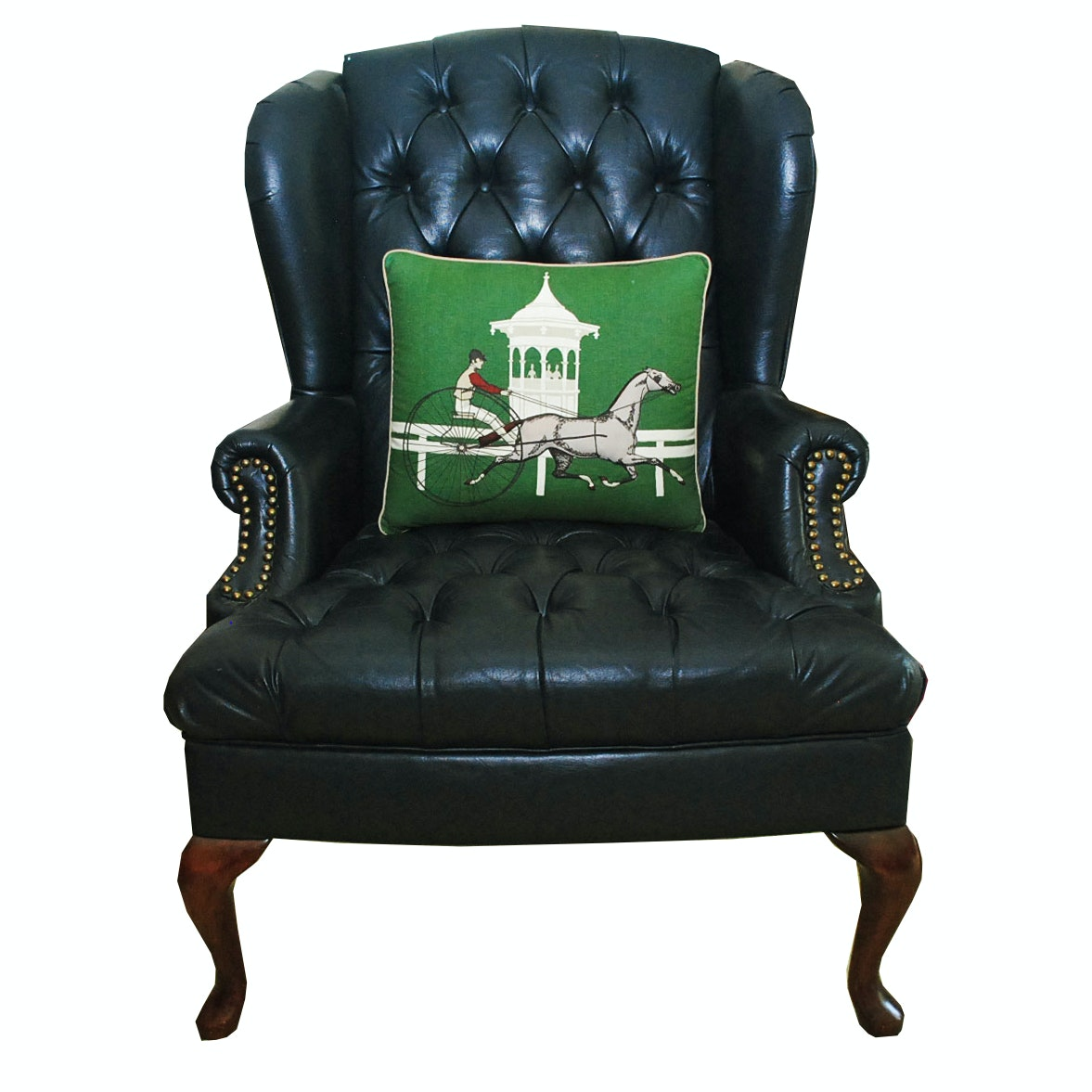 Navy Button Tufted Leather Wingback Chair ...