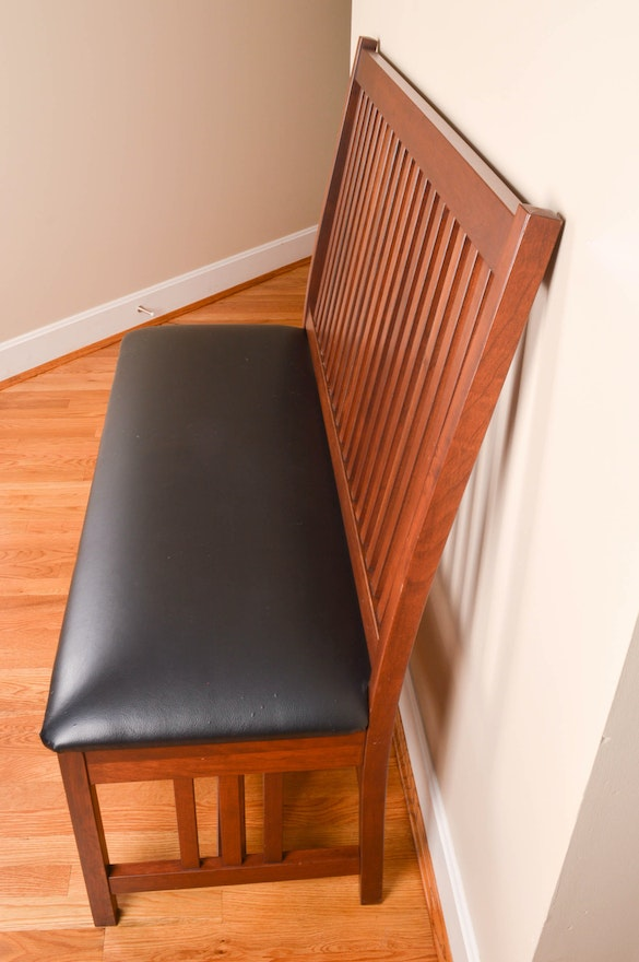 Amish Handcrafted High Back Bench Ebth