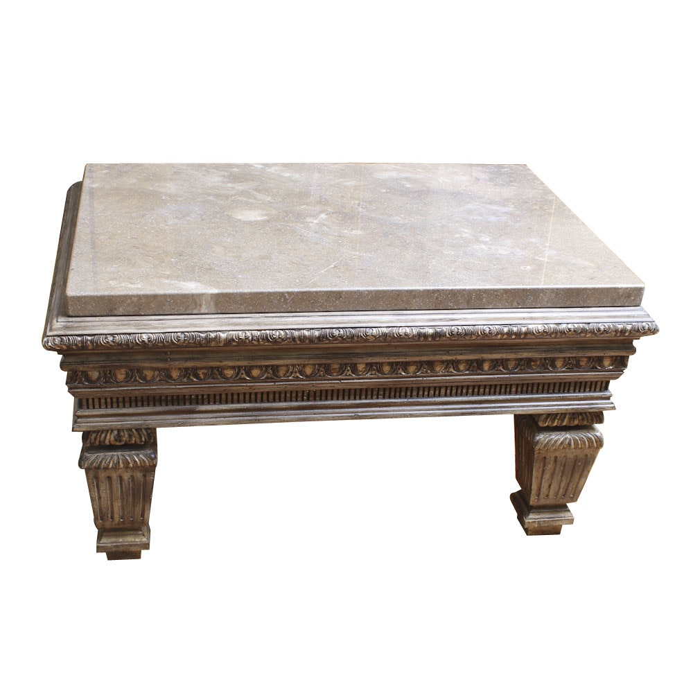 Neoclassical Style Coffee Table with Granite Top
