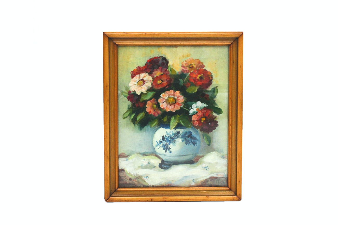 Original Martin Rettig Oil Painting of Flowers in China Vase