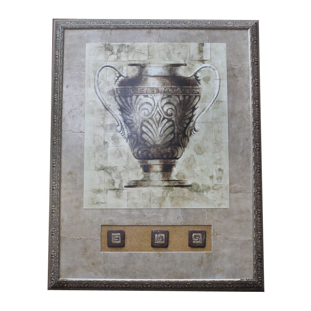 Decorative Reproduction Print on Paper After Jim Seale of an Urn