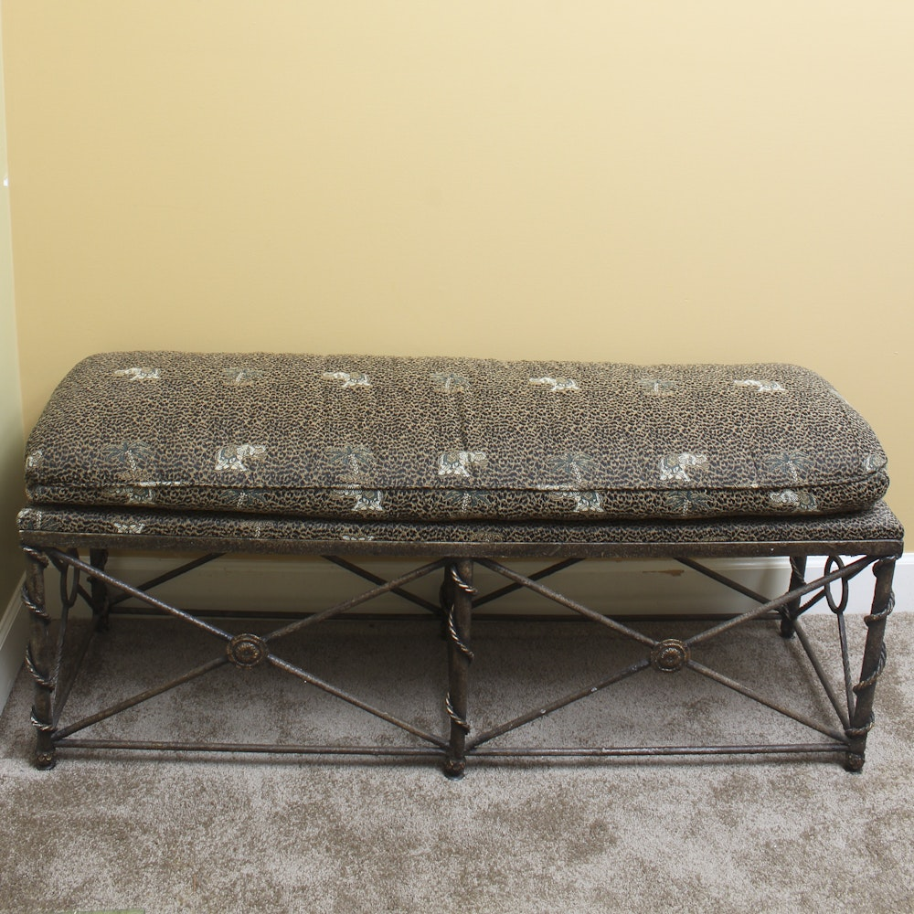 Metal Bench with Upholstered Cushion
