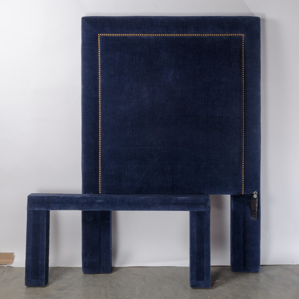 Twin Size Headboard with Navy Blue Corduroy Fabric