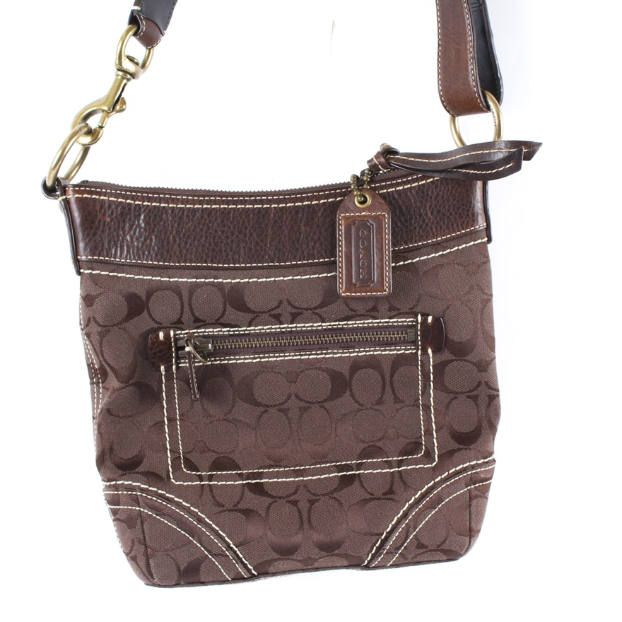 Coach Signature Monogram Canvas Shoulder Bag   EBTH 8079c045467fd