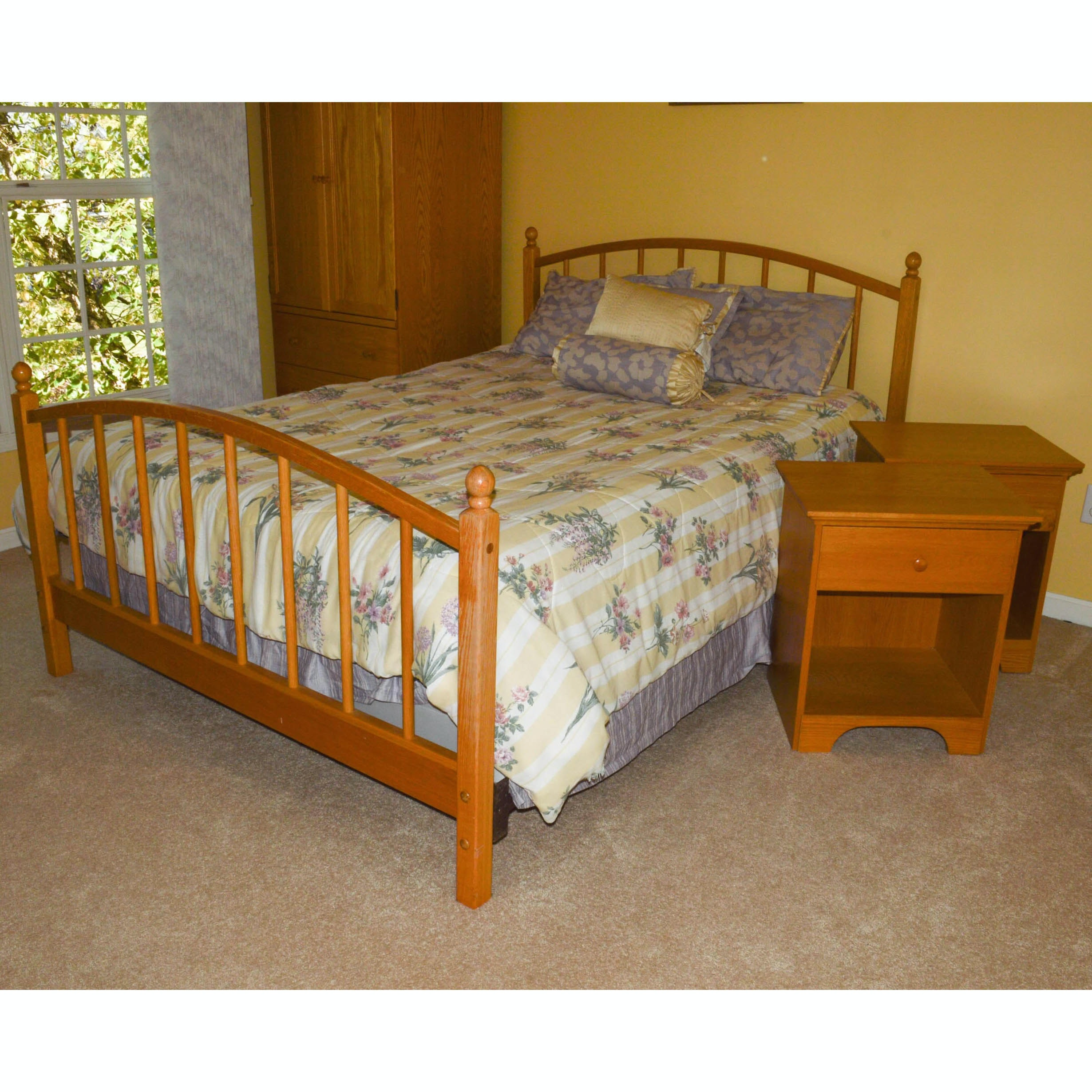 Arhaus Furniture Queen Size Bed Frame and Pair of Nightstands