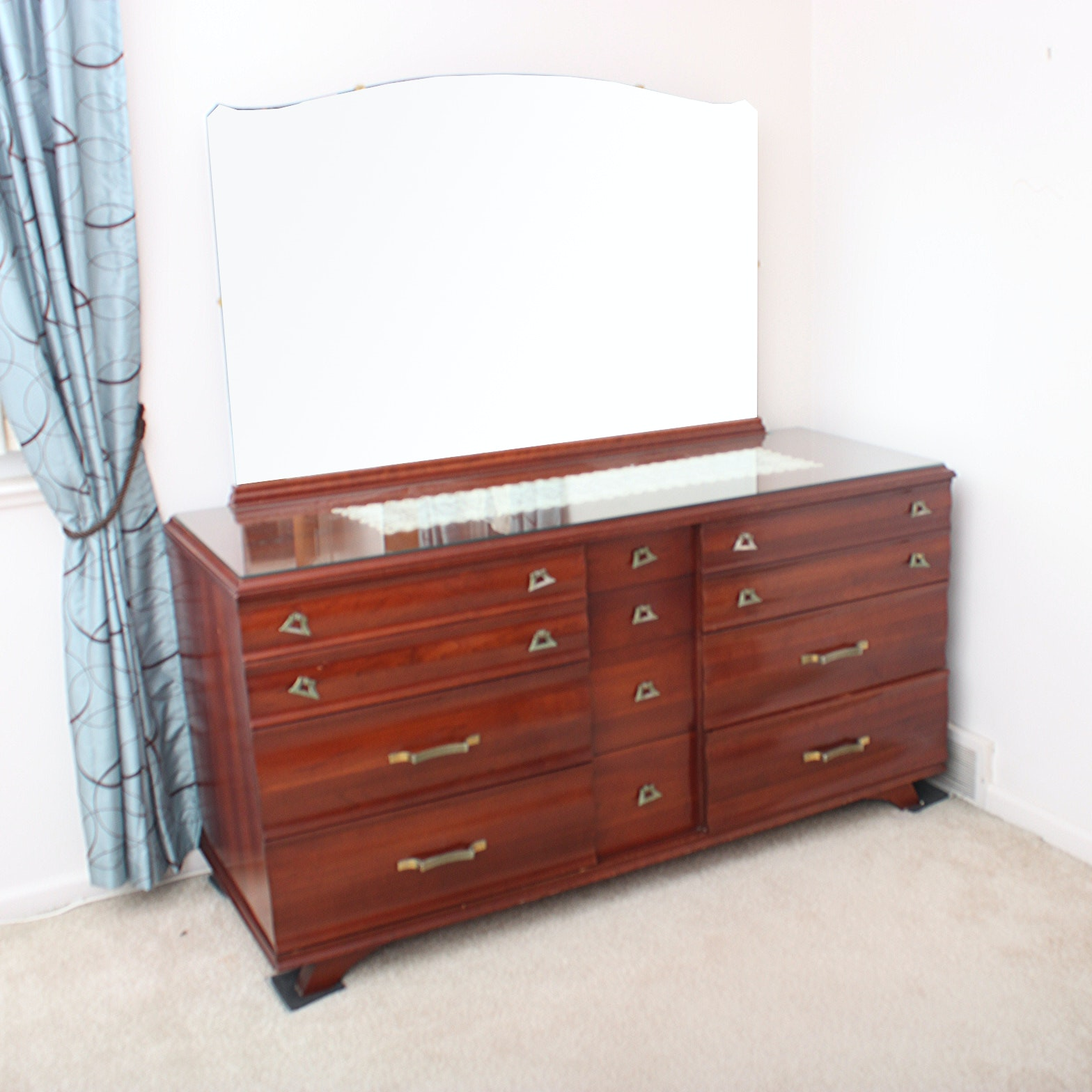 Vintage Mid-Century Kling Cherry Dresser With Beveled Mirror