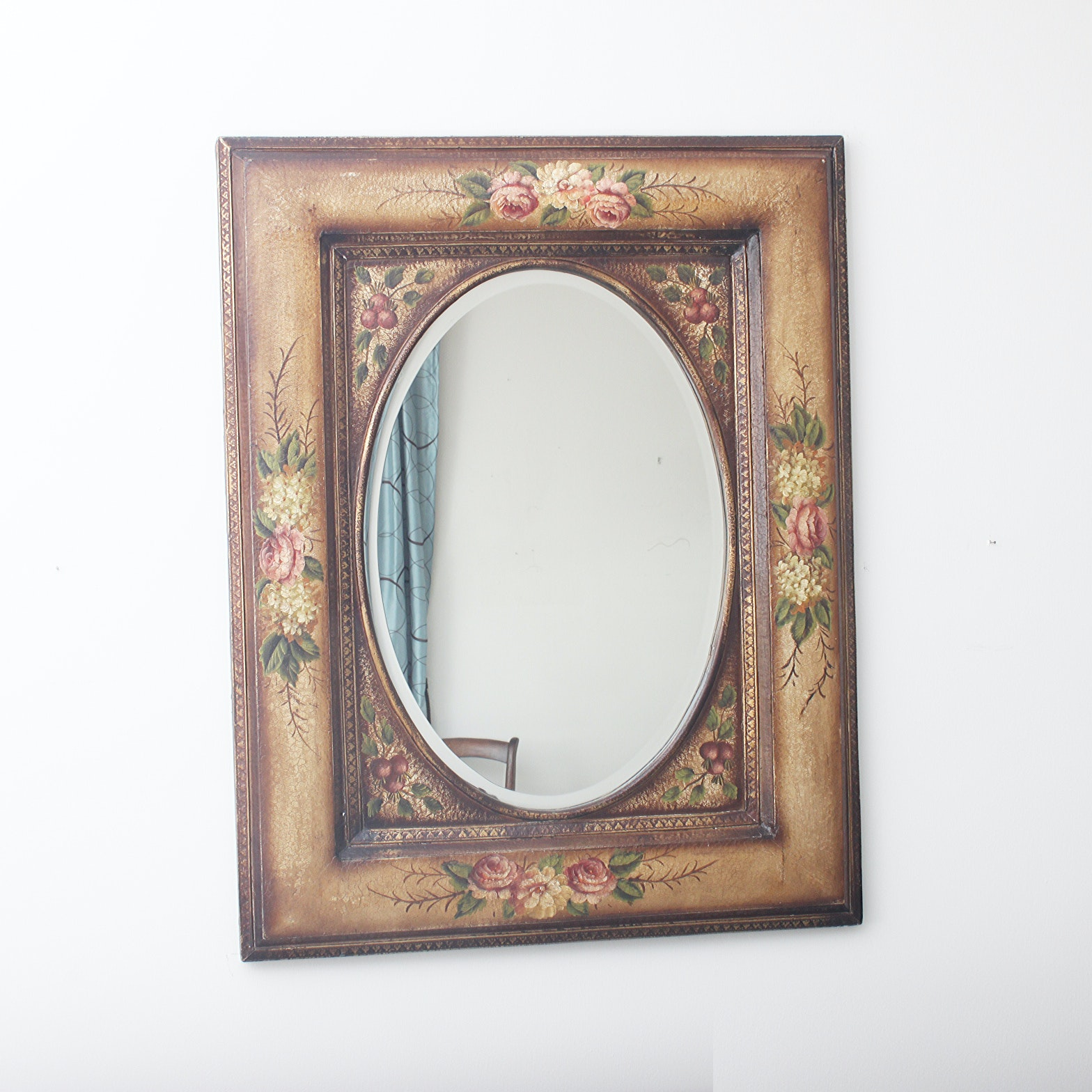 Rustic Floral Wall Mirror