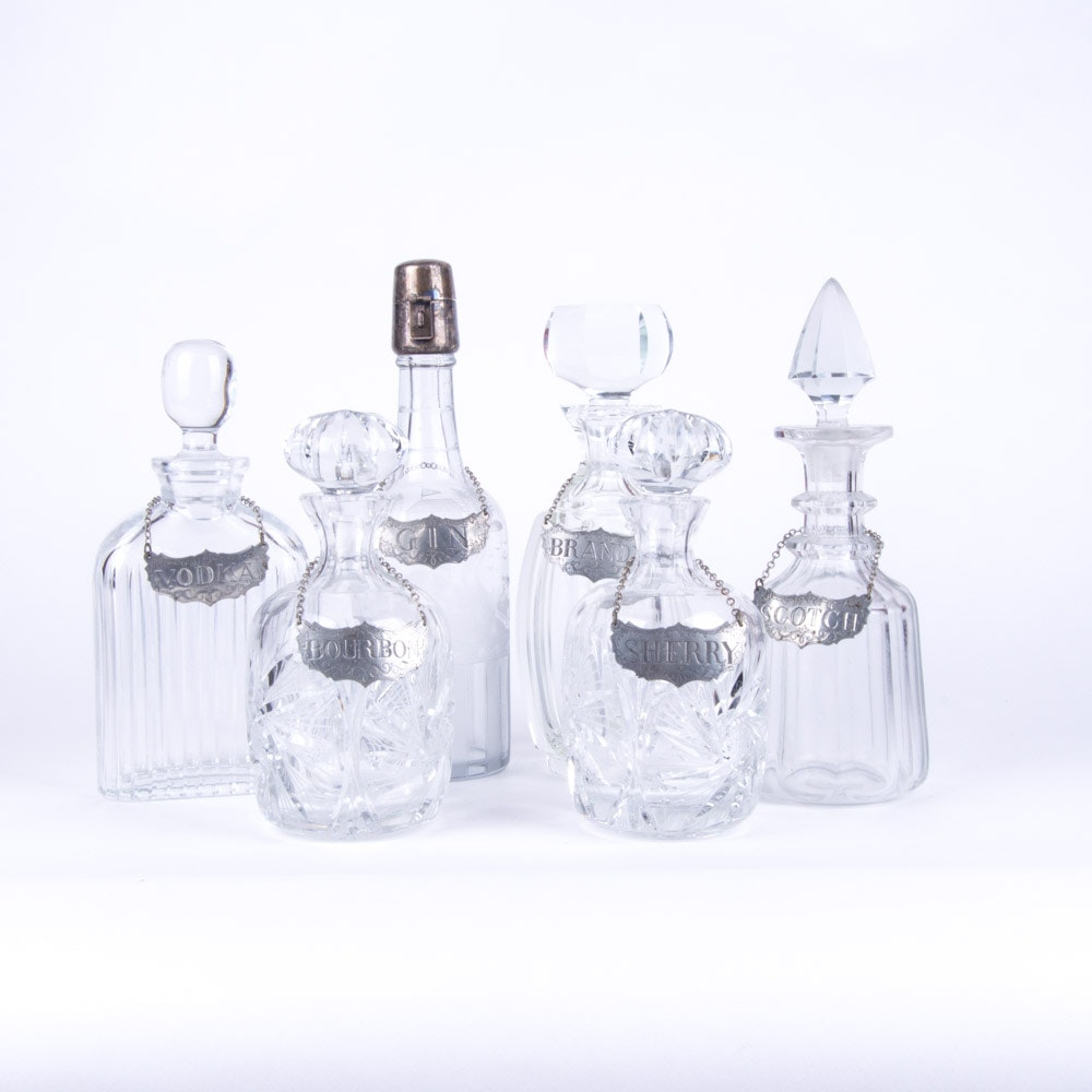 Vintage Crystal and Glass Decanters with Stieff Pewter Tags