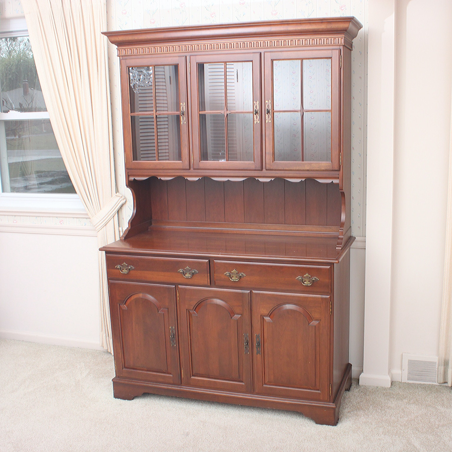 Vintage Ethan Allen Cherry China Cabinet