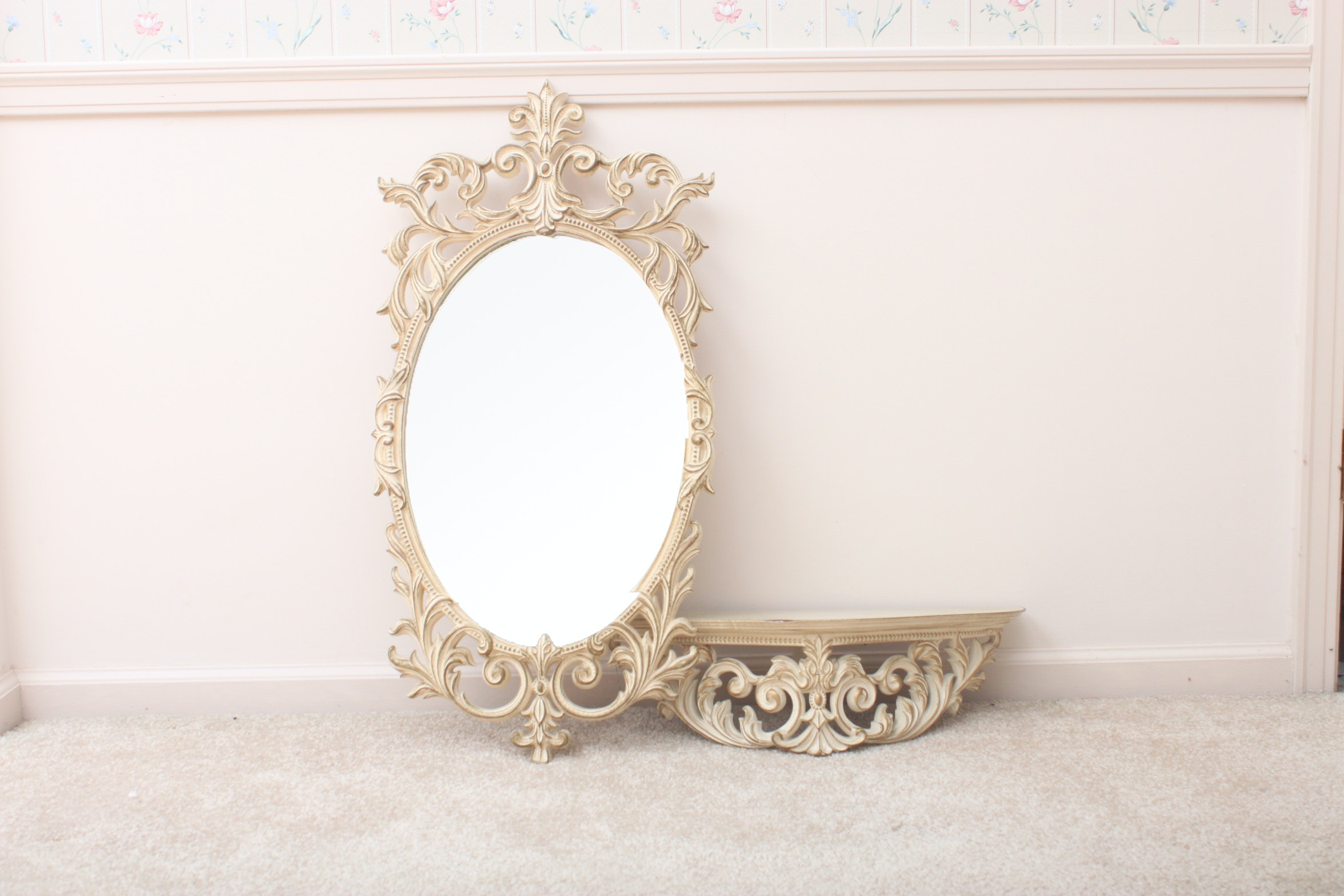 Vintage Rococo Style Turner Wall Mirror and Shelf