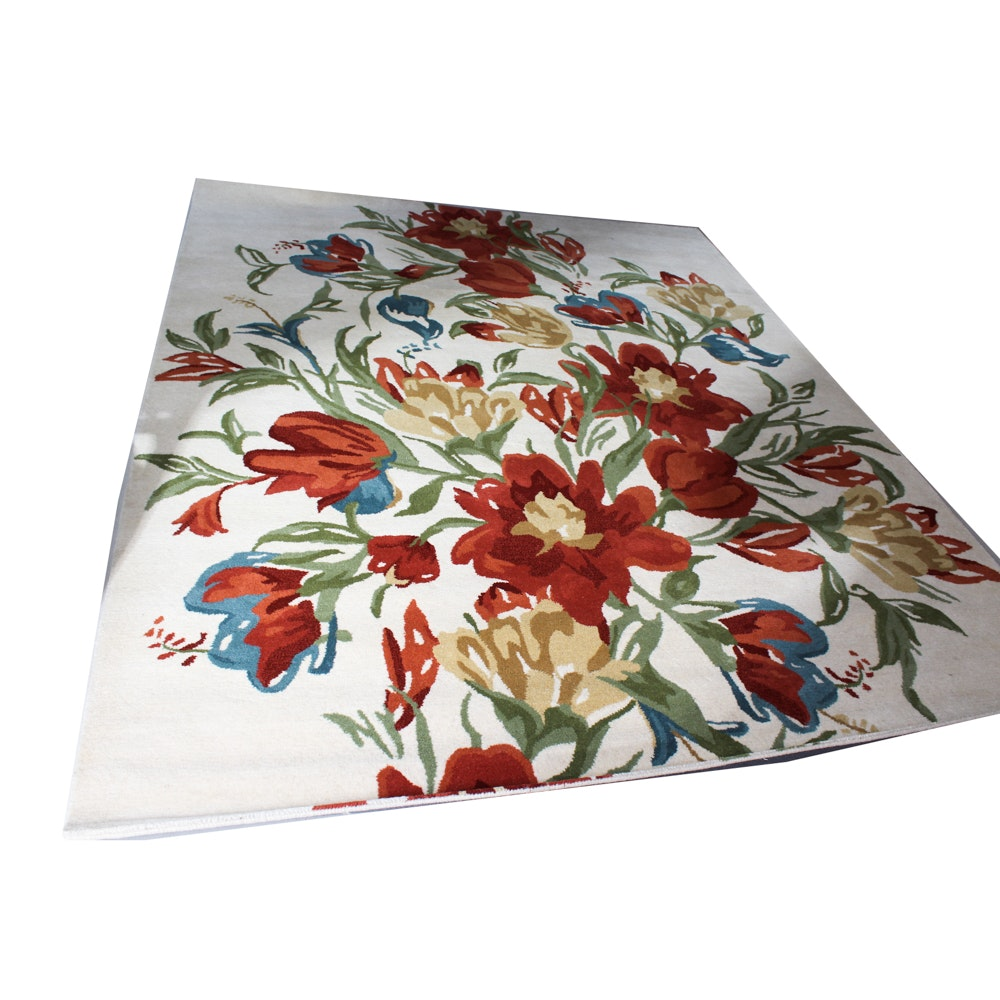 Room Size Pier 1 Hand-Tufted Contemporary Floral Rug