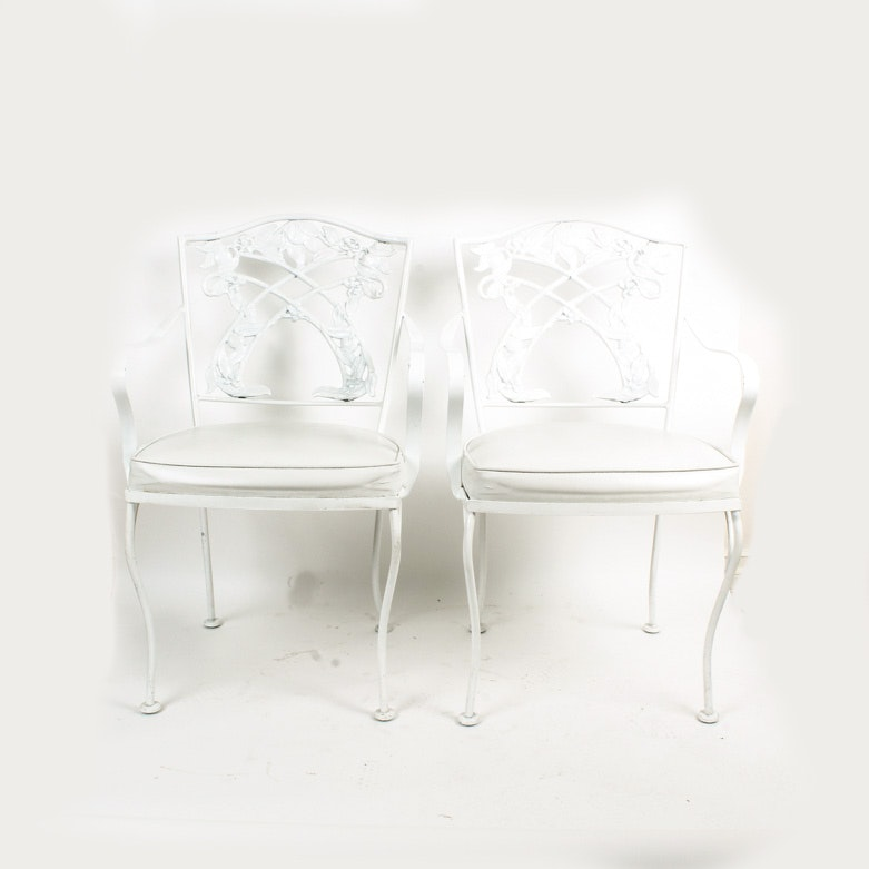 White metal upholstered Chairs