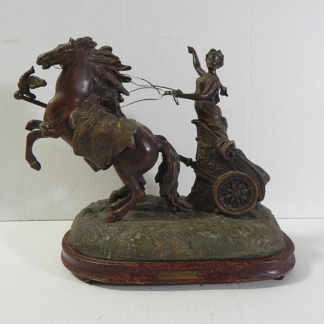 "Cast Spelter French Statue ""Char de la Victoire"""
