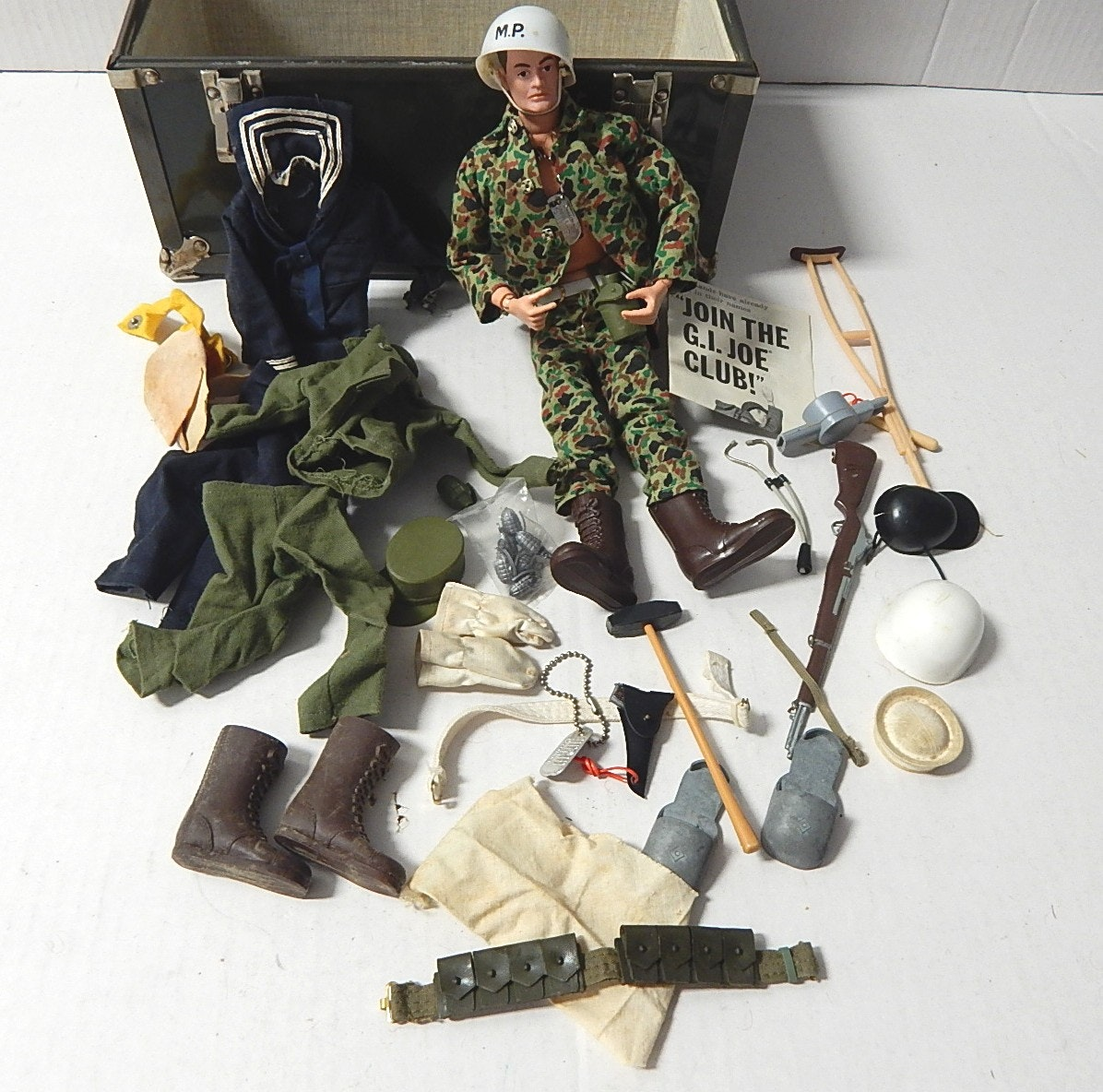 1964 G.I Joe Doll with Accessories and Metal Locker