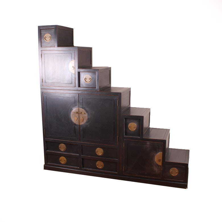 Reversible Black Lacquered Interpretation Of A Japanese Step Chest