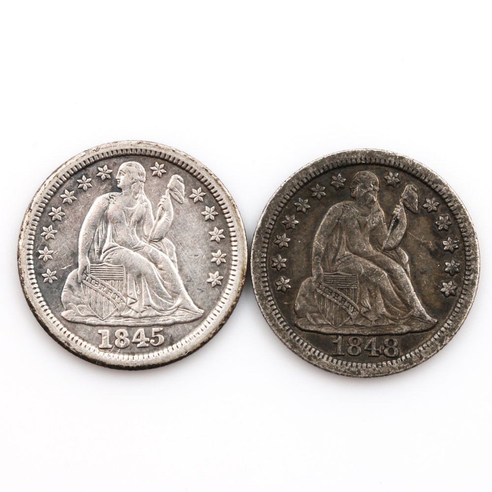Two Liberty Seated Silver Dimes