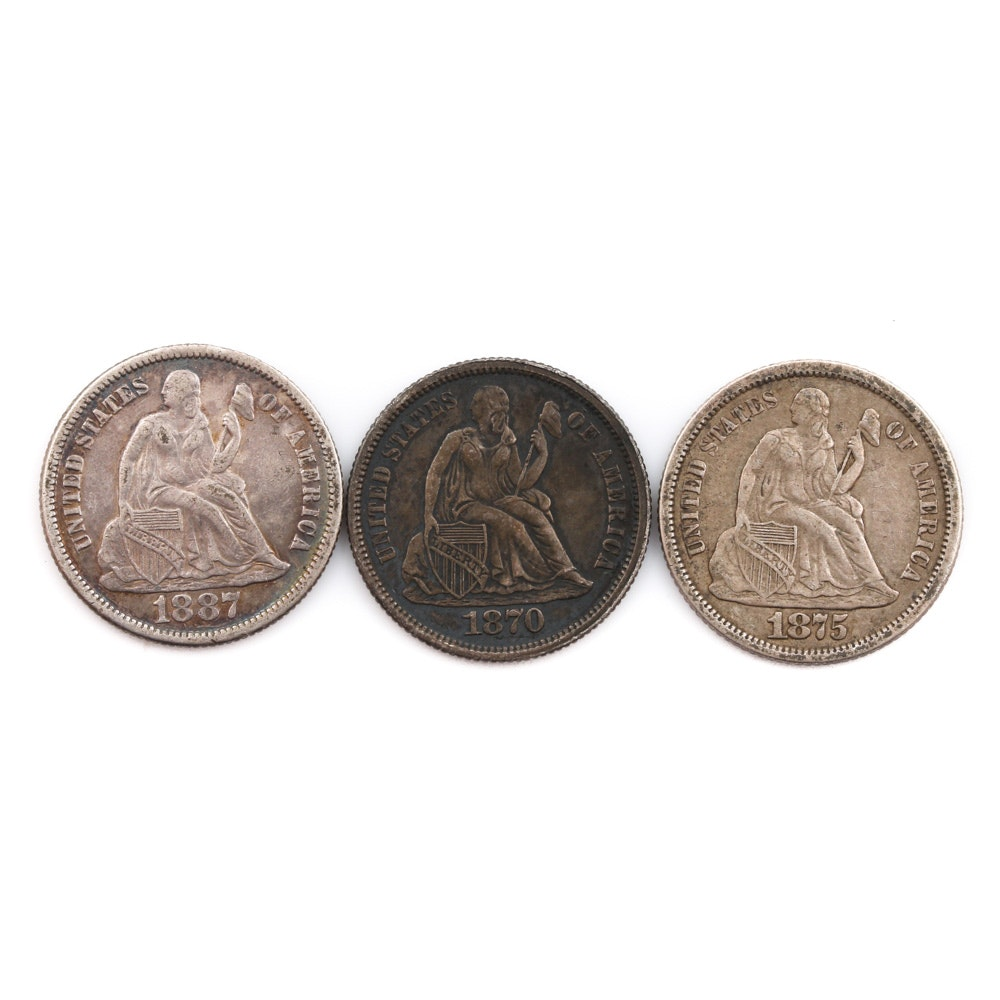 Three Liberty Seated Silver Dimes