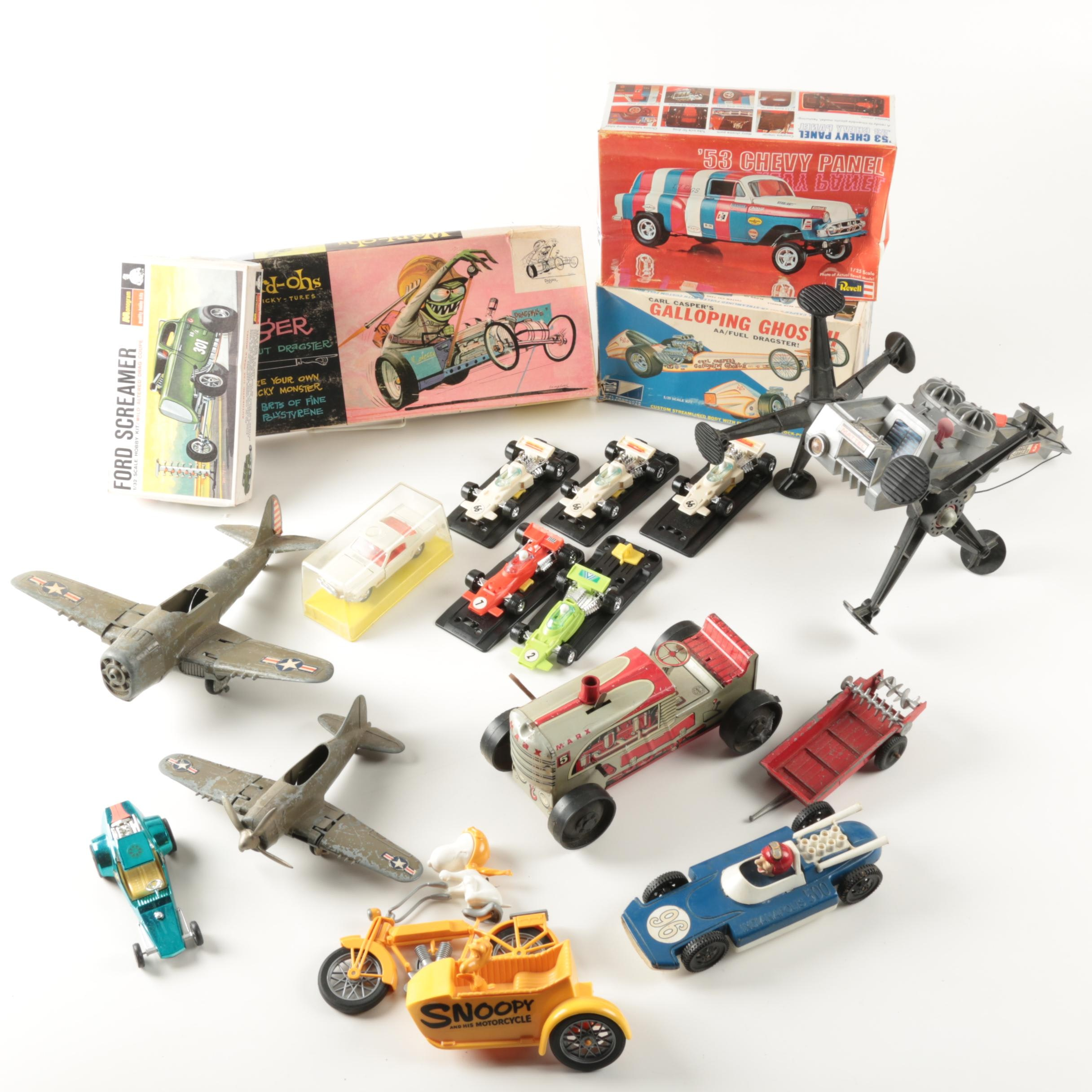 Vintage Model Kits and Assorted Toy Vehicles
