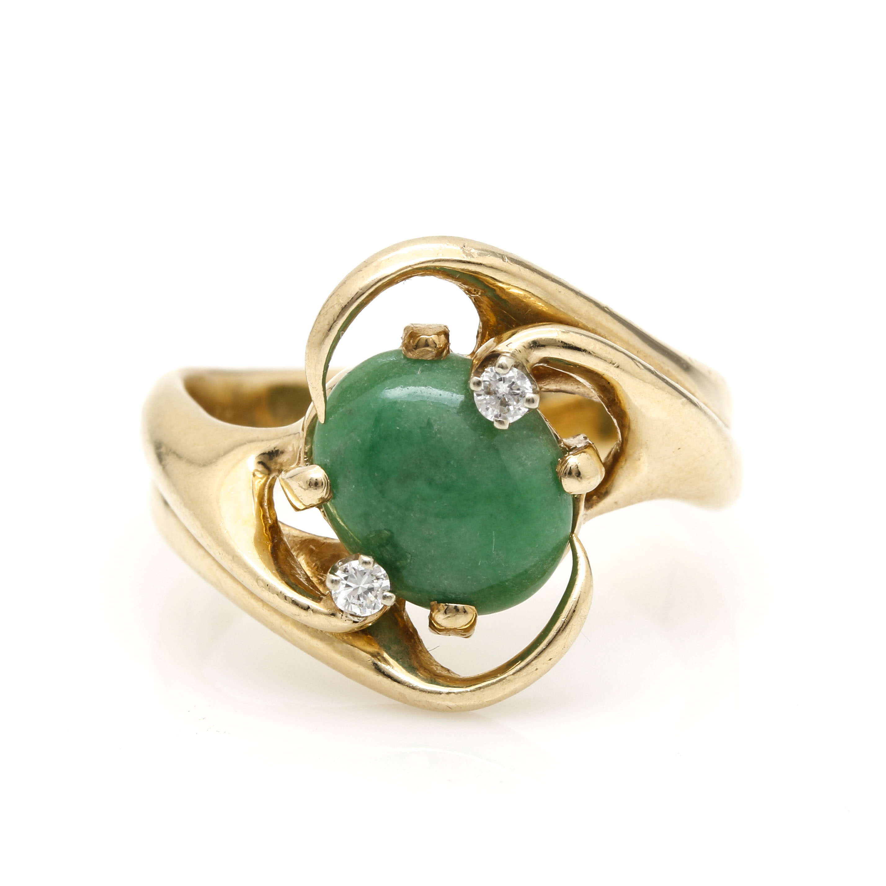 14K Yellow Gold Jadeite and Diamond Ring