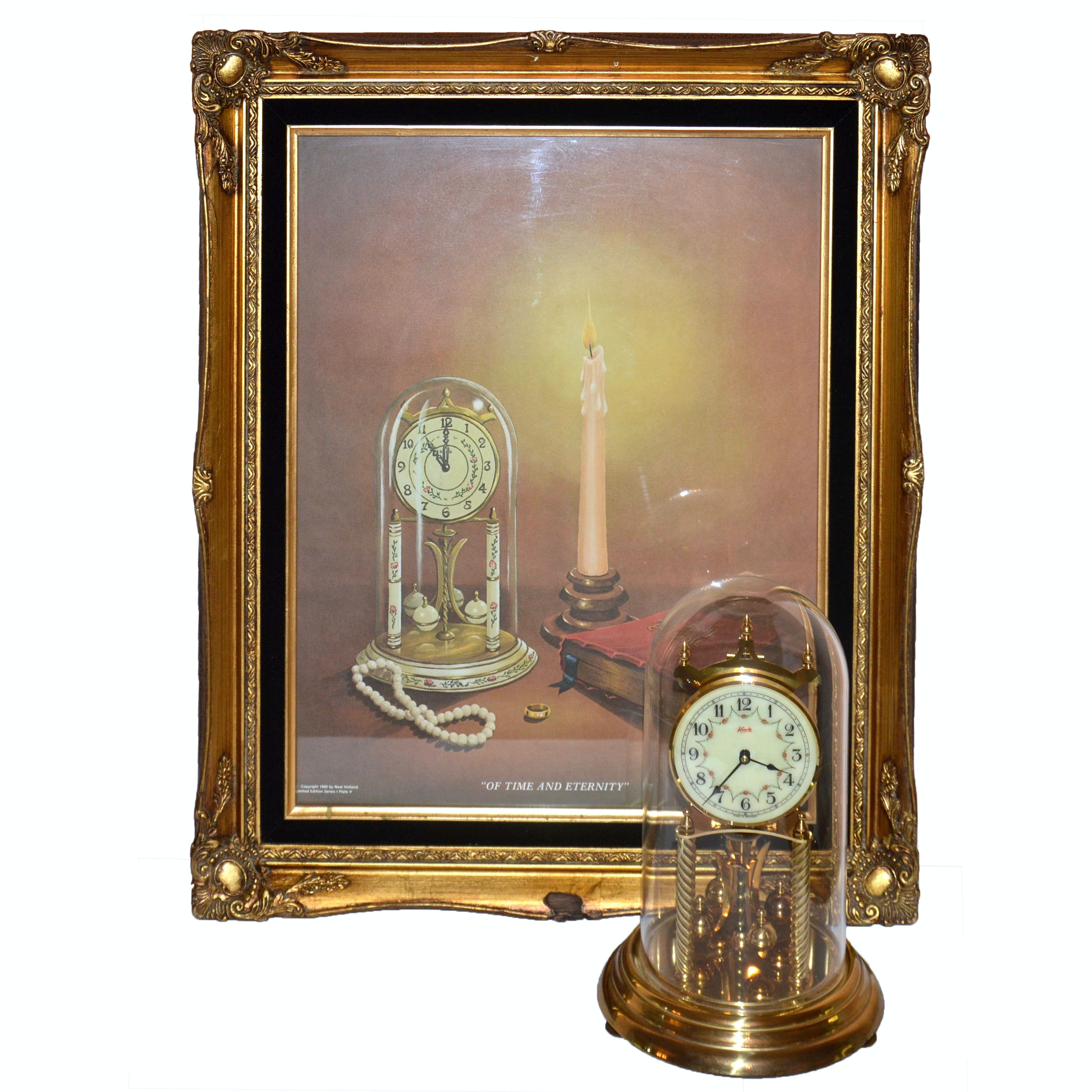"Signed ""Of Time and Eternity"" Offset Lithograph and Brass Mantel Clock"