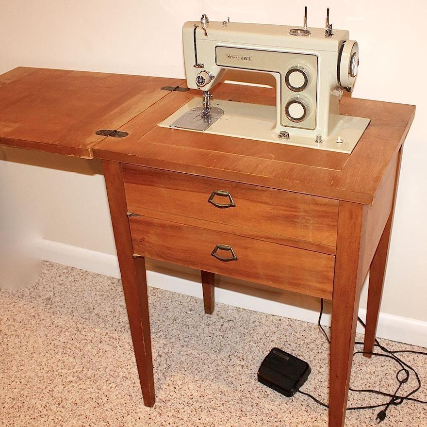 Sears Kenmore Vintage Sewing Machine in Wood Cabinet | EBTH