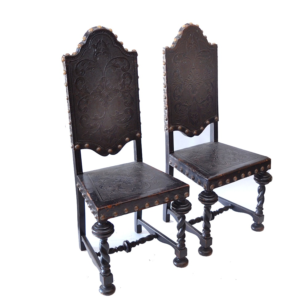 Gothic Revival Walnut and Leather Dining Chairs